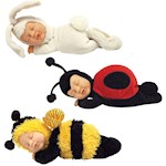 (Set) Ann Geddes Bee, Ladybug And Snow Bunny Baby Dolls - Ages 18 Months + (3)