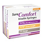 Sure Comfort Half Unit Insulin Syringes - 31 G, 0.3 cc, 5/16 in - 100 ea - 22-6504 (1)