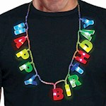 Light Up Happy Birthday Necklace - 16 Inch Glowing Novelty Party Jewelry (1)