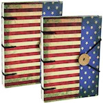 (Set) Patriotic American Flag Journal w/ 160 Handmade Linen Parchment Pages (2)