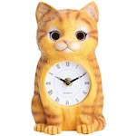 """Cat Clock - Moving Eyes Back & Forth - Crafted In Etched Resin - 7.25"""" Tall (1)"""