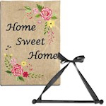 (Set) Home Sweet Home Burlap Garden Flag With Black Wood Wall Hanger And Bow (2)