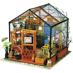 Miniature Greenhouse Craft Kit 1:24 Scale DIY Garden Project w/ LED Lighting (1)