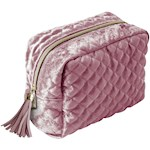 Crushed Velvet Cosmetics Bag Holds Beauty Supplies - Diamond Quilted (1)