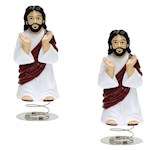 (Set/2) Dashboard Jesus - Vinyl Toy Figure On Metal Spring w/ Adhesive Base (2)