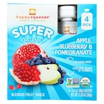 Happy Squeeze Fruit Snack - Organic - Blended - Super - Apple Blueberry and Pomegranate - 4/3.17 oz - Pack of 4 (4)