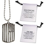 (Set) Revolutionary War American Flag Pendant - Made From Real Cannonballs (2)