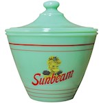 Sunbeam Jadeite Grease Jar - Vintage Look Collectible Depression Style Glass (1)