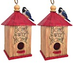 (Set/2) Home Sweet Home Birdhouse - Handpainted Polyresin w/ Hanging Rope (2)