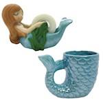 (Set) Mermaid Tail Ceramic Mug And Handpainted Resin Mermaid Tape Dispenser (2)