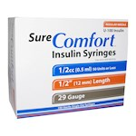 Sure Comfort Insulin Syringes 29 Gauge 1/2cc 1/2 in - 100 ea (1)