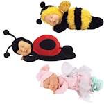 (Set) Ann Geddes Plush Sleeping Baby Dolls - Baby Bee, Ladybug & Pink Fairy (3)